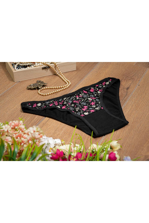 Pinkvirágos fekete női alsó